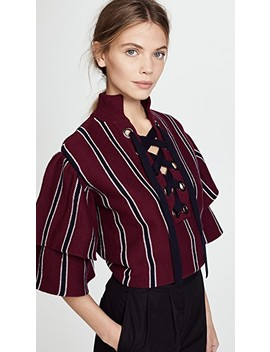 Striped Frill Sleeve Sweater by Self Portrait
