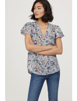 Short Sleeved Satin Blouse by H&M
