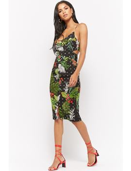 Cutout Floral Print Midi Dress by Forever 21