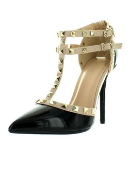 Wild Diva Adora 64 Women's Studded High Heel Double Strap Pointed Toe Pumps by Walmart
