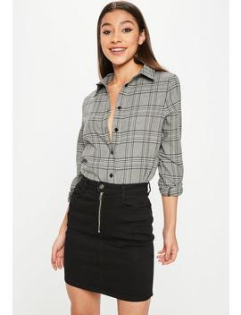 Black And Grey Prince Of Wales Check Shirt by Missguided
