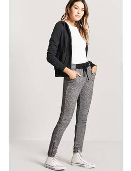 Marled Zip Cuff Joggers by Forever 21