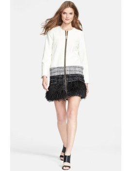 Feather Trim Jacket by Milly