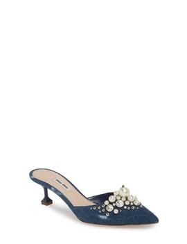 Embellished Pointy Toe Mule by Miu Miu