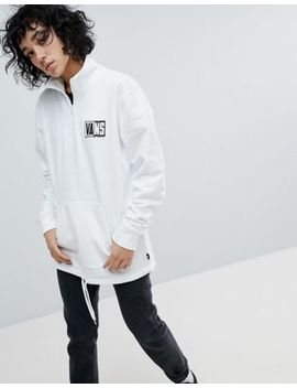 Vans Half Zip Sweatshirt In White by Vans