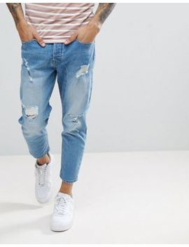 Solid Tapered Cropped Jeans by Solid