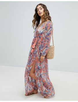 America & Beyond Maxi Beach Dress With Leaf Print by Maxi Dress