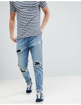 Asos Tapered Jeans In Mid Wash Vintage With Faux Leather Rip & Repair by Asos