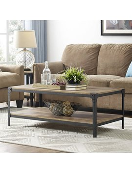 Angle Iron Rustic Wood Coffee Table   Barnwood (Multiple Colors Available) by Walker Edison