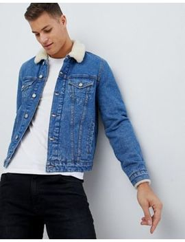 Asos Design Denim Jacket With Fleece Collar In Light Wash by Asos Design