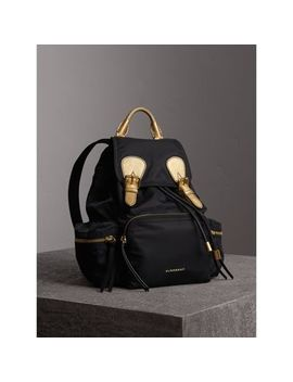 The Medium Rucksack In Two Tone Nylon And Leather by Burberry