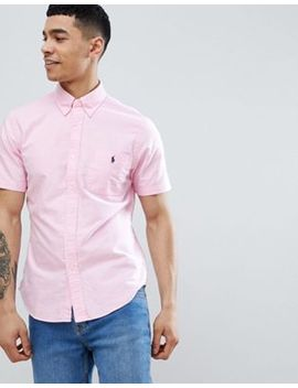 Polo Ralph Lauren Slim Fit Short Sleeve Oxford Shirt With Button Down Collar In Pink by Polo Ralph Lauren