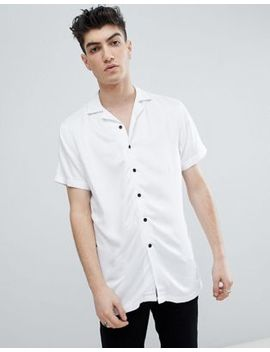 Noose & Monkey Revere Collar Viscose Short Sleeve Shirt In White by Noose & Monkey