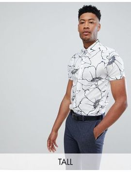Ted Baker Tall Slim Smart Shirt In White Floral Print by Ted Baker