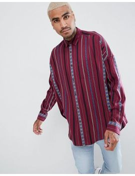 Asos Design Festival Oversized Vintage Stripe Shirt by Asos Design