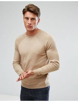 Burton Menswear Oatmeal Crew Neck Knit by Burton Menswear London