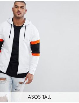 Asos Design Tall Zip Up Hoodie With Colour Blocking by Asos Design