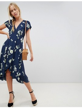 Free People Lost In You Floral Dip Hem Wrap Dress by Free People