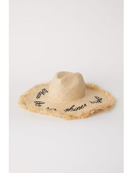 Straw Hat With Embroidery by H&M