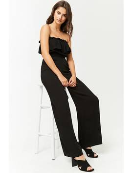 Strapless Flounce Jumpsuit by Forever 21