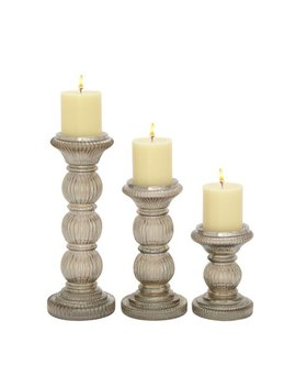 Unique Set Of Three Glass Candle Holder by Benzara