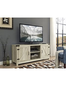 "58"" Barn Door Tv Stand With Side Doors   White Oak (Multiple Colors Available) by Walker Edison"