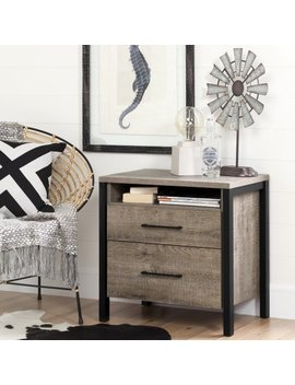 South Shore Munich 2 Drawer Nightstand, Weathered Oak by South Shore Furniture