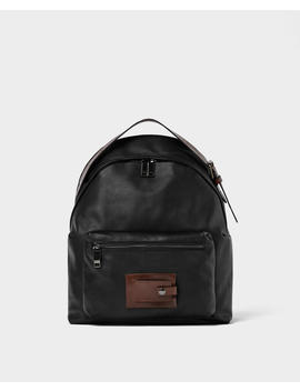 Soft Black Leather Backpack  New Inman by Zara