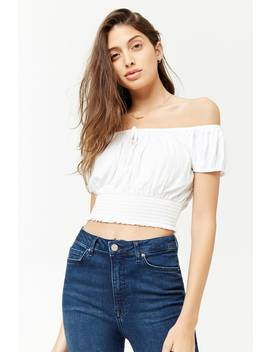 Cropped Off The Shoulder Peasant Top by F21 Contemporary