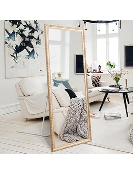 "H&A Full Length Large Floor Mirror, 65""X22"" Rectangle Wooden Finished Frame Mirror, Cheval Bedroom Free Standing Mirror, Dressing Mirror With Adjustable Stand For Bedroom, Champagne by H&A"