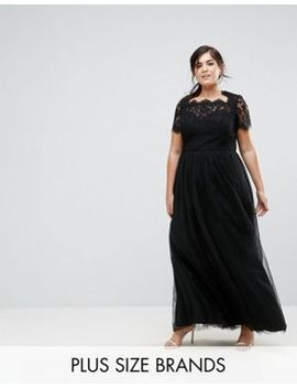 Chi Chi London Plus Maxi Tulle Dress With Lace Up Back by Chi Chi London Plus