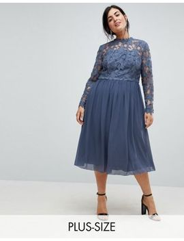 Chi Chi London Plus High Neck Midi Skater Dress With Lace Sleeves by Chi Chi London Plus