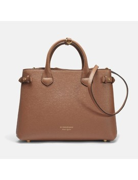 Medium Banner Bag In Dark Sand Calfskin by Monnier Frères