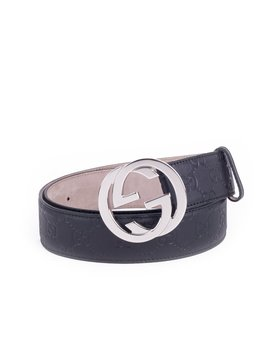 Signature Guccissima Leather Belt With Interlocking G   Black (Men's) by Gucci