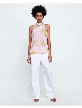 floral-print-halter-neck-top--shirts-i-topssale-woman by zara