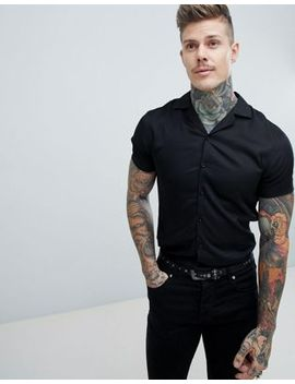 noose-&-monkey-revere-collar-viscose-short-sleeve-shirt-in-black by noose-&-monkey