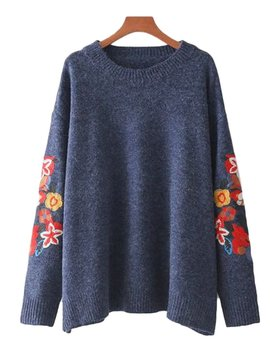 'ruby' Embroidered Sleeve Sweater by Goodnight Macaroon