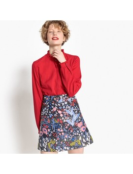 Short Floral Jacquard Skirt by Mademoiselle R