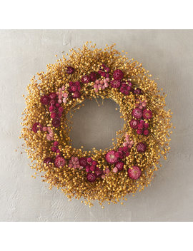 Strawflower & Amaranth Wreath by Terrain