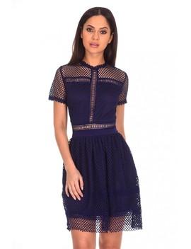 Navy Crochet Short Sleeved Dress by Ax Paris