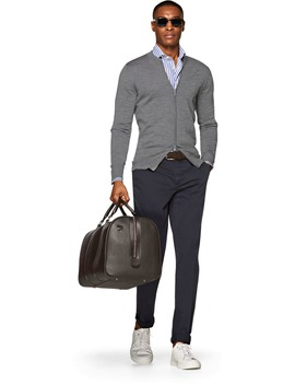 Grey Zip Cardigan by Suitsupply