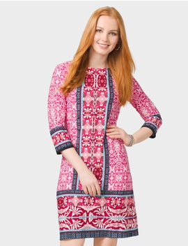 Petite Mixed Print Sleeved Knit Dress by Dressbarn