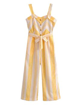 'dayana' Striped Belted Jumpsuit by Goodnight Macaroon