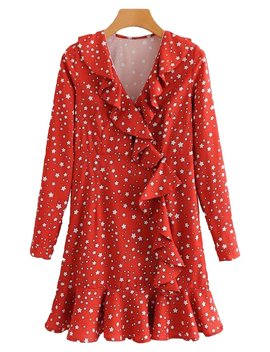 'athel' Star Pattern Frill Peplum Dress by Goodnight Macaroon