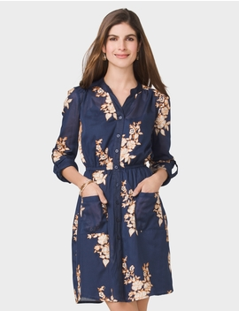Embroidered Pocket Button Down Shirt Dress by Dressbarn