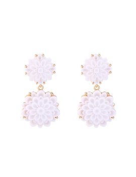 'cally' White Floral Stud Drop Statement Earrings by Goodnight Macaroon