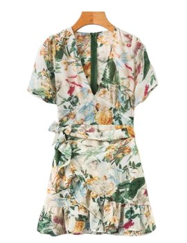 'francesca' Floral Belted Frilly Dress by Goodnight Macaroon