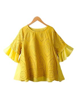 'antoinette' Eyelet Pattern Cape Sleeve Mock Layer Top By Champagne &Amp; Chanel (2 Colors) by Goodnight Macaroon