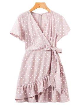'karter' Wrap Tied Polka Dot Peplum Dress (2 Colors) by Goodnight Macaroon