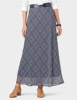 Belted Print Maxi Skirt by Dressbarn
